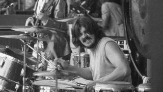 Led Zeppelin's John Bonham playing drums on stage in the early 1970s