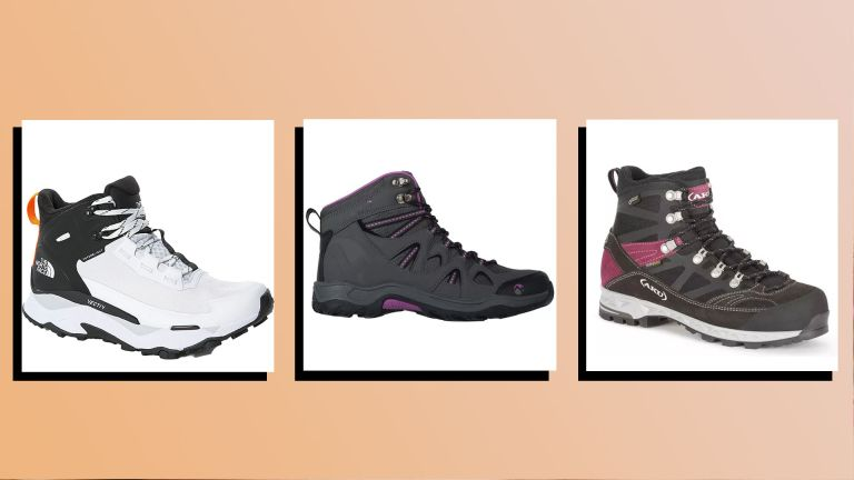 three of the best womens walking shoes on peach background