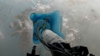The IceMole drill prototype melts into the Blood Falls glacier in Anarctica during a test of technology for a mission to explore Saturn's icy moon Enceladus. The drill collected an uncontaminated water sample from inside the glacier.