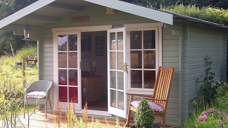 B&Q garden room: Shire Cannock 12x8 Apex Tongue & groove Wooden Cabin