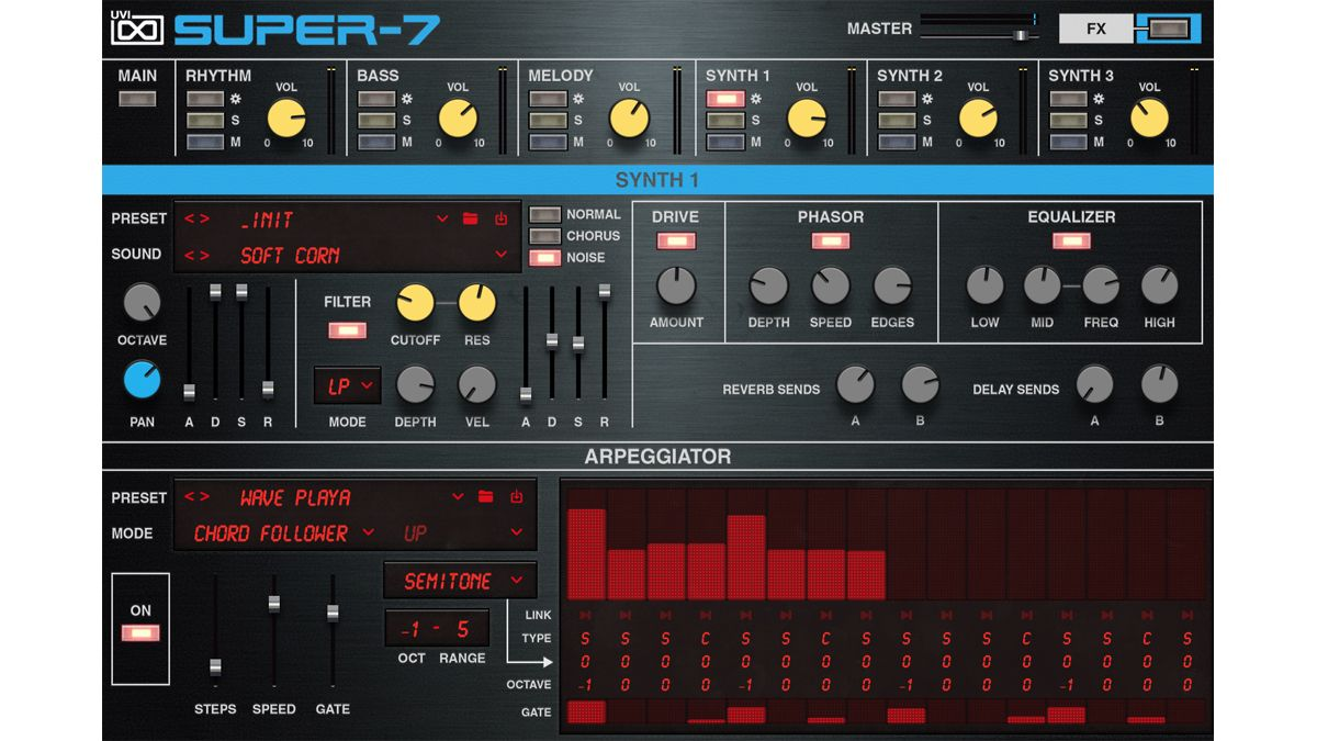 UVI's Super-7 combines Roland Juno-106 synth and X0X drum machine sounds to create an '80s analogue groove station