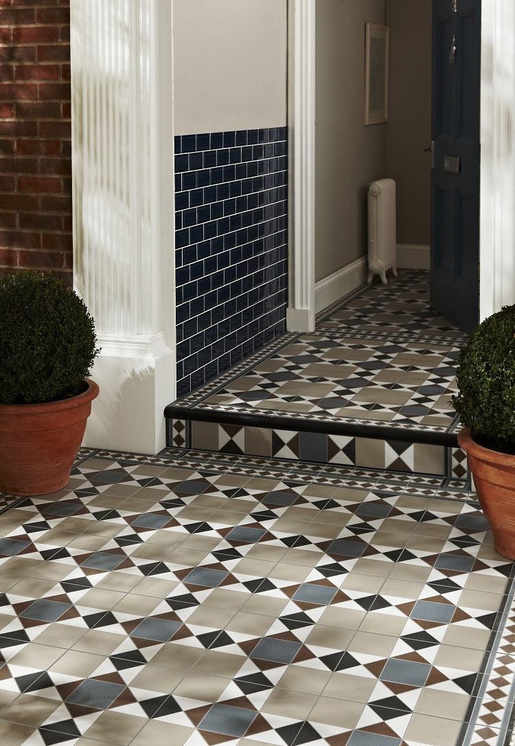 The best modern encaustic tiles on everyones wishlist in 2018 grosvenor beige blue tile 675 per tile from topps tiles dailygadgetfo Gallery