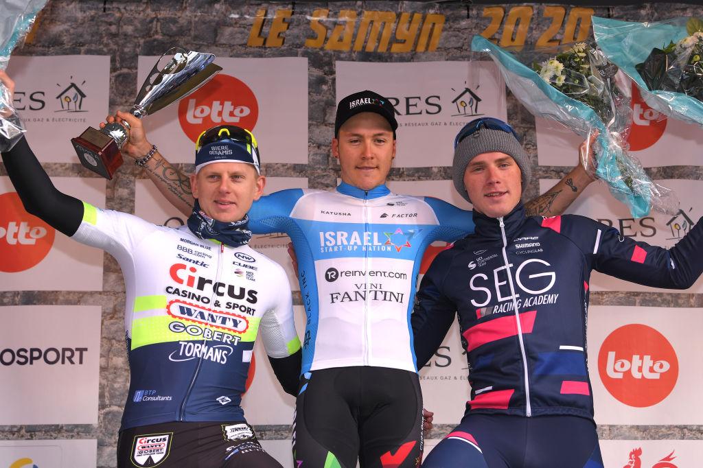 David Dekker (SEG Racing Academy) finished third at the 2020 Le Samyn Belgian one-day race behind winner Israel Start-Up Nation's Hugo Hofstetter and Circus-Wanty Gobert's Aimé De Gendt