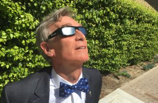 Bill Nye in Solar Eclipse Viewing Glasses