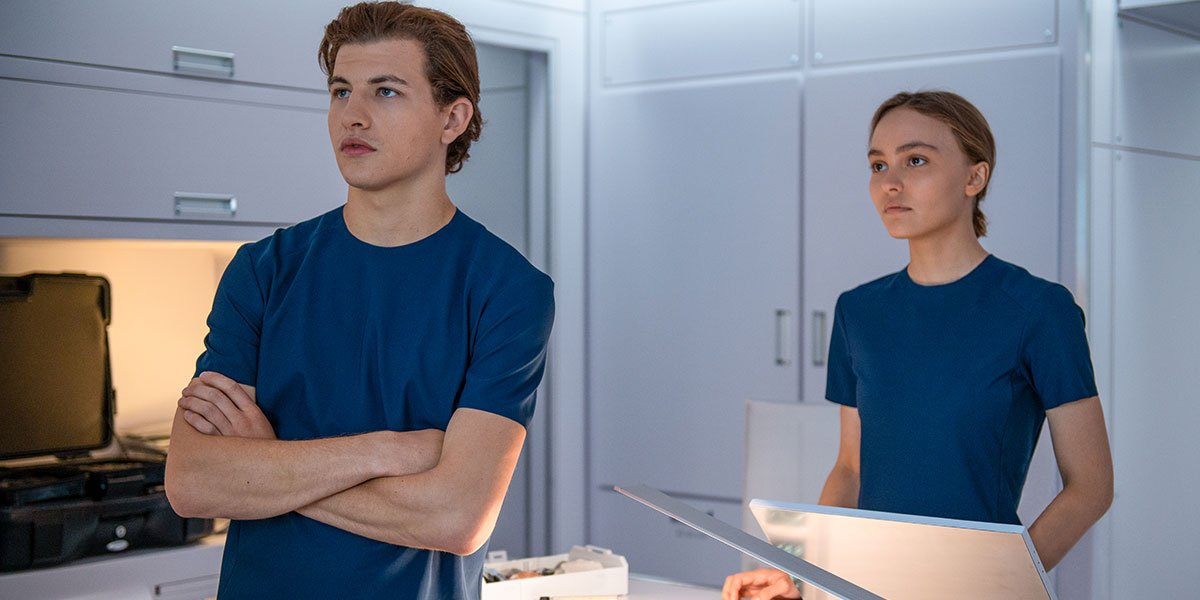 Tye Sheridan and Lily-Rose Depp in Voyagers.