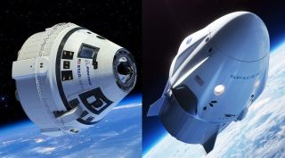 Artists' illustrations of Boeing's CST-100 Starliner (left) and SpaceX's Crew Dragon capsules in orbit.
