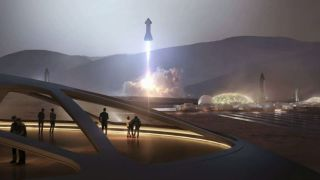 An artist's depiction of SpaceX Starships on Mars.