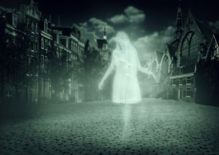 Ghost walks down the street in an old town.