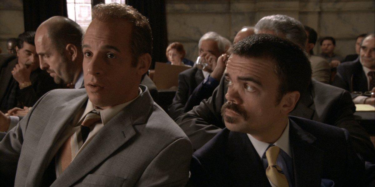 Vin Diesel and Peter Dinklage in Find Me Guilty