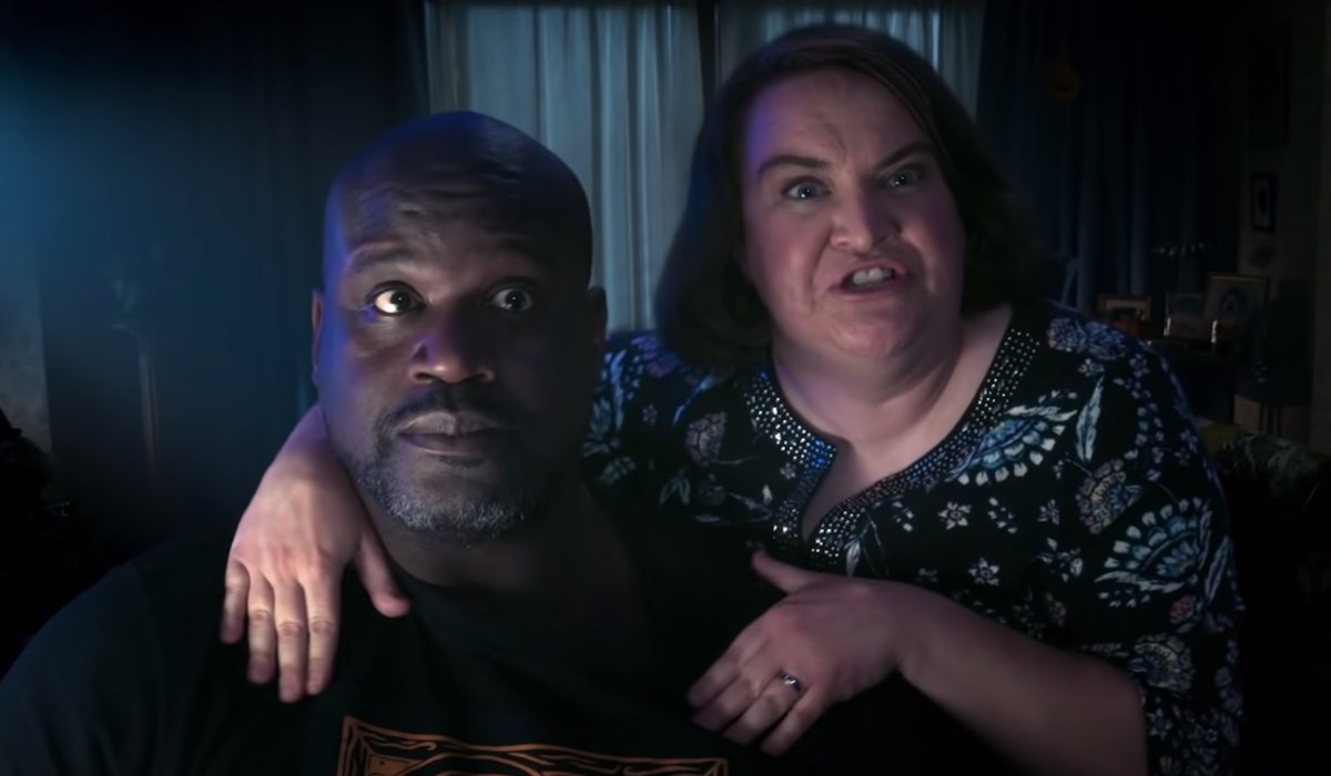 Hubie Halloween Shaq and Betsy Sodaro listening with excitement