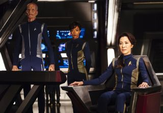 """Star Trek: Discovery,"" the latest installment in the iconic Trek science fiction franchise, will debut Sept. 24, 2017. Pictured here (left to right): Doug Jones as Lt. Saru; Sonequa Martin-Green as First Officer Michael Burnham; and Michelle Yeoh as Capt"