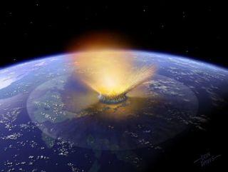 A NASA illustration shows an asteroid striking a planet.
