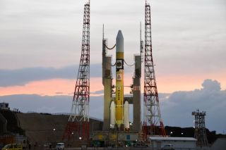 A file photo of a Japanese H-IIA rocket built by Mitsubishi Heavy Industries atop its launch pad at Tanegashima Space Center in southern Japan in 2016. An H-IIA rocket launched Japan's Information Gathering Satellite Radar 5 mission on March 16 EDT (early