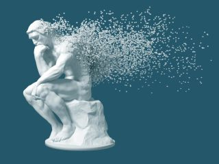 illustration of the thinker statue disintegrating into tiny particles