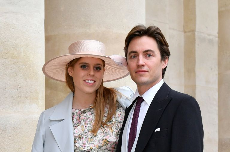 Princess Beatrice d'York and her fiance Edoardo Mapelli Mozzi attend the Wedding of Prince Jean-Christophe Napoleon and Olympia Von Arco-Zinneberg at Les Invalides on October 19, 2019 in Paris, France