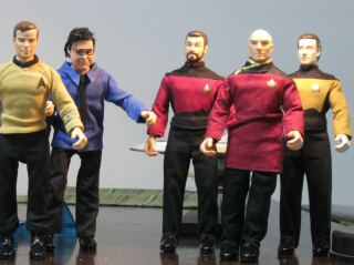 Some of the Star Trek action figures being sent to near-space in a high-altitude balloon May 5 are pictured here.