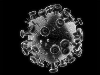 3D illustration of HIV virus
