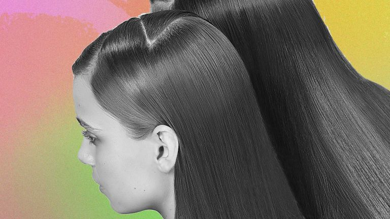 A collage of two women with sleek conditioned hair over a colorful background, have they used the olaplex no 8?