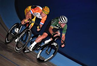 The Netherlands' Wim Stroetinga (left) goes toe-to-toe with British sprinter Mark Cavendish on the final lap of the Elimination Race at the 2019 Six Day London, and it was Stroetinga who managed to come out on top