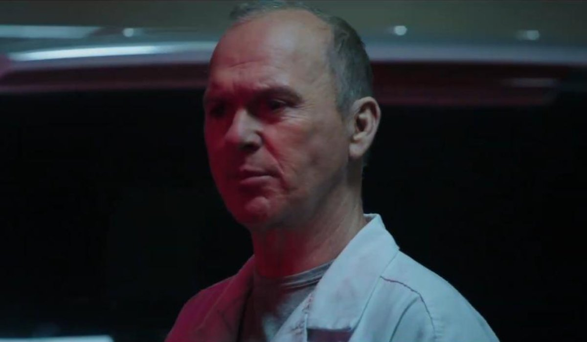 Michael Keaton lurks in front of an ambulance in Morbius.