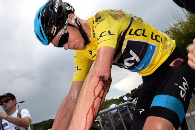 Chris Froome after a crash on stage six of the 2014 Criterium du Dauphine