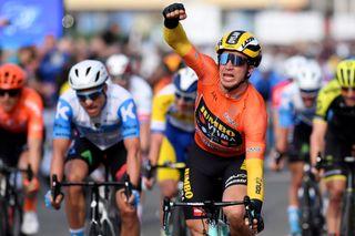 Jumbo-Visma's Dylan Groenewegen celebrates winning stage 3 of the 2020 Volta a la Comunitat Valenciana