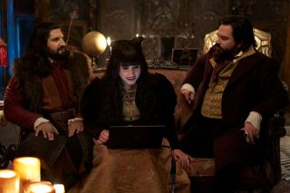 "Kayvan Novak as Nandor, Natasia Demetriou as Nadja, Matt Berry as Laszlo in FX's ""What We Do in the Shadows"""