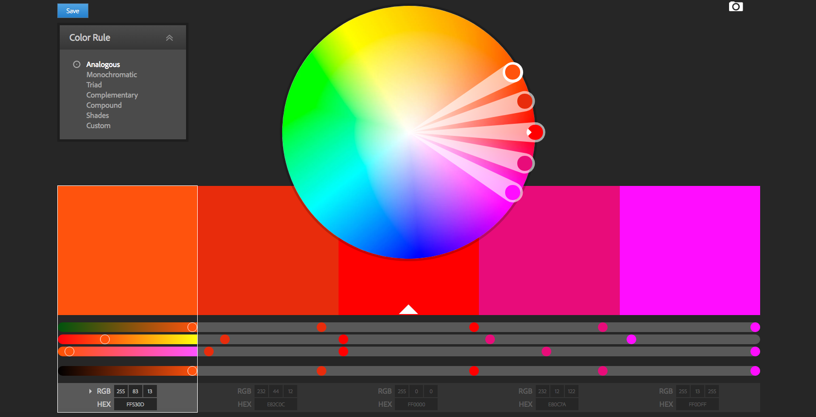 Colour wheel selection screen with adjustment tools