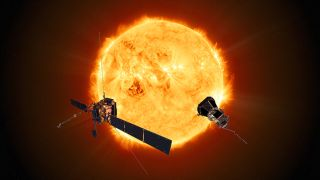 An artist's depiction of the ESA-NASA Solar Orbiter and NASA's Parker Solar Probe studying the sun.