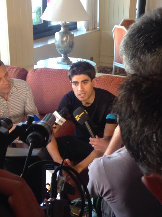 Mikel Landa meets the press ahead of the stage