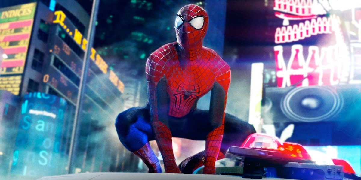 Andrew Garfield's Spider-Man suit in Times Square in Amazing Spider-Man 2