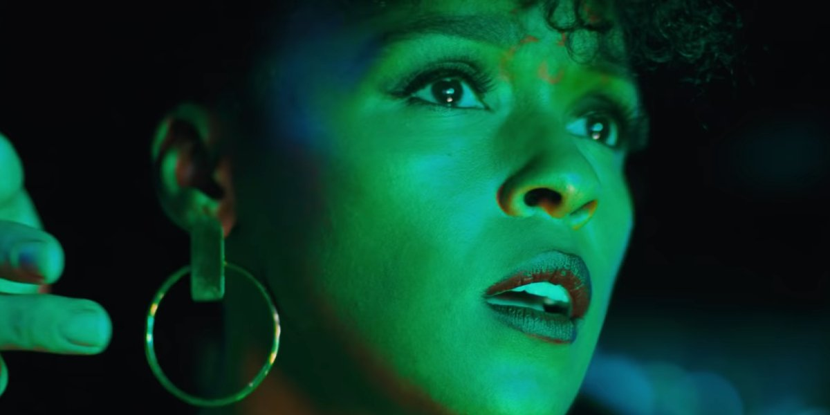 Antebellum Janelle Monae confused in green light