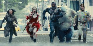 Ratcatcher-2, Harley Quinn, Bloodsport, King Shark, and Polka Dot Man run into action in The Suicide Squad.