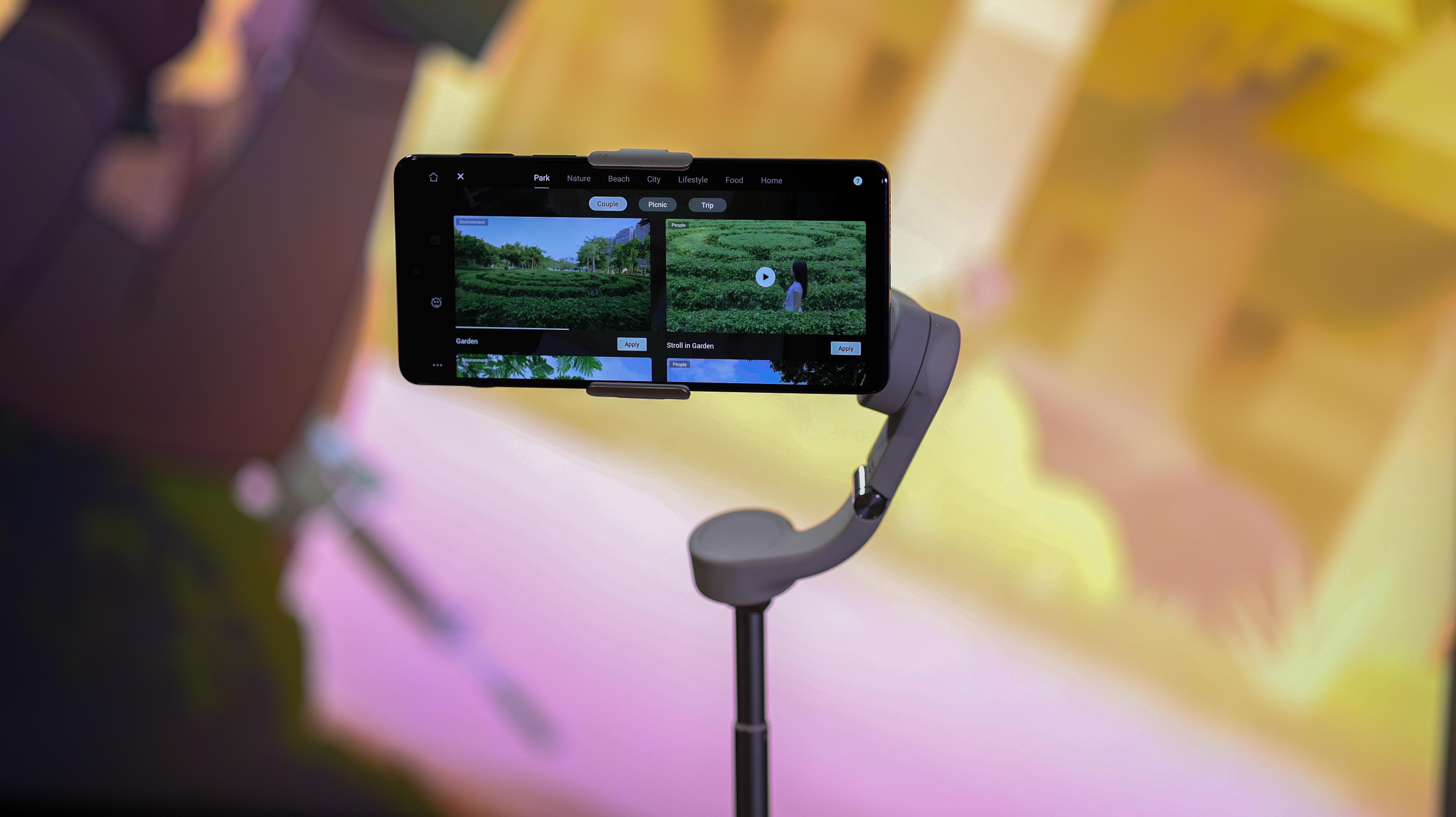 A phone mounted on the DJI OM 5 phone gimbal