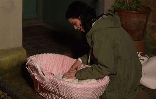 Hayley leaves her baby on the doorstep