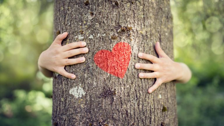 Benefits of nature on health: woman hugging tree with heart