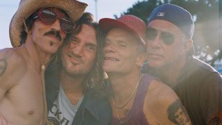 Red Hot Chili Peppers in a sunny Californian background