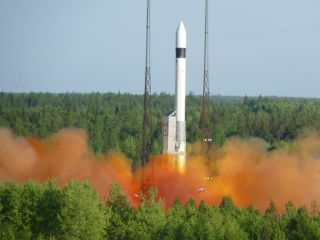 A Rockot rocket launches the SERVIS-2 satellite in June 2010