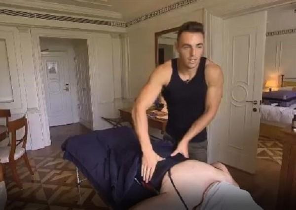 Edwina Currie getting a massage