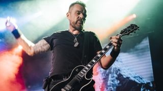 Guitarist Billy Duffy from the band The Cult performs onstage at La Riviera on August 21, 2019 in Madrid, Spain.