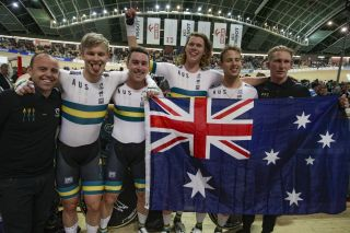 The Australian team pursuit squad celebrates gold – and a new world record – at the 2019 UCI Track World Championships