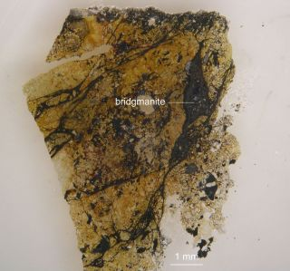 The elusive mineral bridgmanite is shown in a shock melt vein inside a 4.5-billion-year-old meteorite.