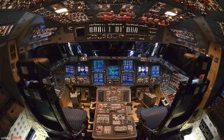 Shuttle Endeavour's powered-on flight deck