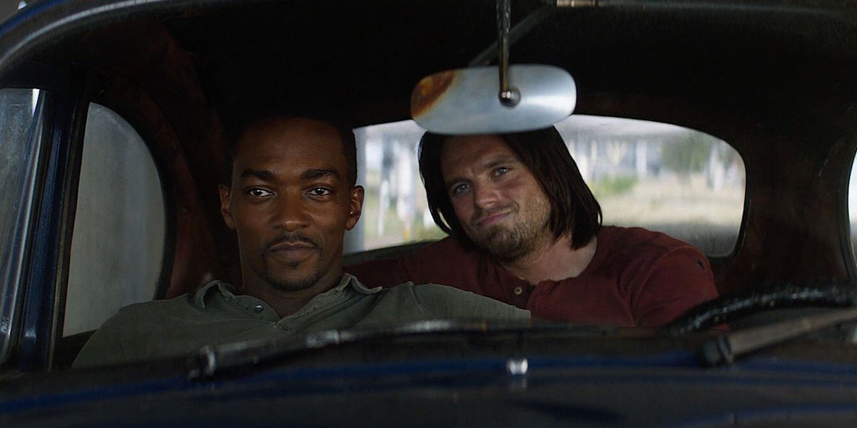 Anthony Mackie as Sam Wilson/The Falcon and Sebastian Stan as Bucky Barnes/Winter Soldier in Captain America: Civil War (2016)