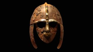The most famous and ornate of the findings at the Sutton Hoo burial is this helmet, made of gold, silver and other metals.
