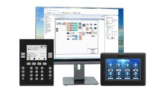 Symetrix Composer 7.1 interface pictured with PD-1 Telco Dialer at left and T-5 Touchscreen