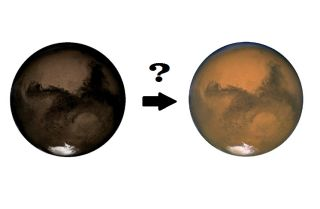 Mars is red now, but it may have looked charcoal in the past.