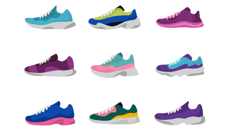 good running shoes illustration different colour trainers