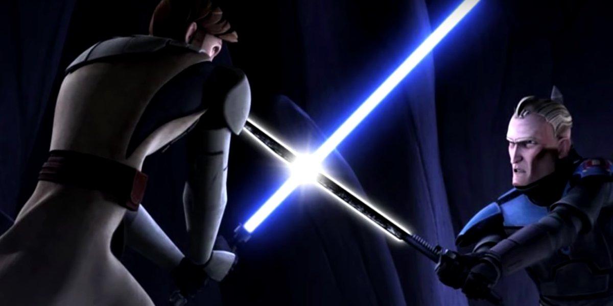 Obi-Wan Kenobi faces off Darksaber-wielding Pre Vizsla in Star Wars: The Clone Wars