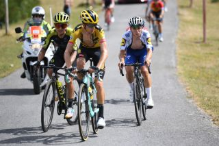 Jumbo-Visma's George Bennett leads Esteban Chaves (Mitchelton-Scott) and eventual stage winner Remco Evenepoel (Deceuninck-QuickStep) on the final climb of the Picón Blanco on stage 3 of the 2020 Vuelta a Burgos